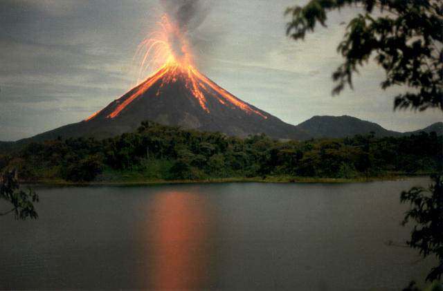 arenal volcano erupting in its national park
