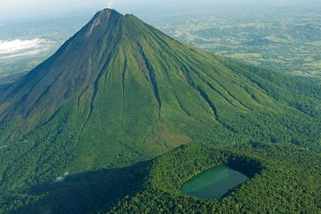 ariel view of arenal volcano and its national park