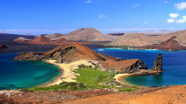 two beaches on the island of bartolome in the galapagos islands