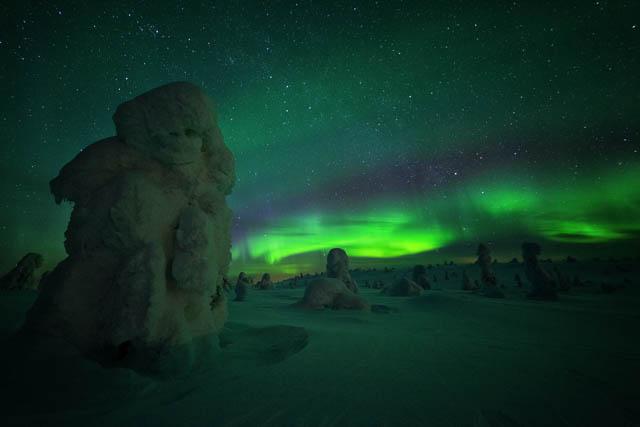 northern lights across riisitunturi national park