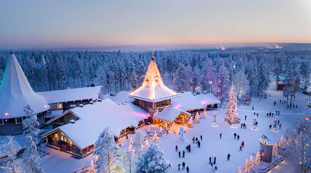 ariel view of santa office in santa claus village rovaniemi finland
