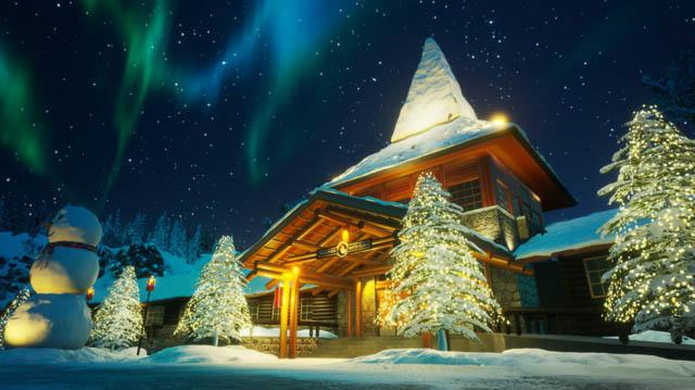 polar lights dancing above santa office at santa claus village in rovaniemi finland