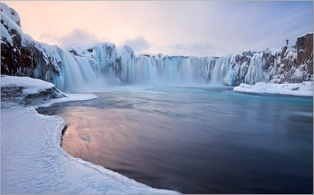 snow covered godafoss falls iceland
