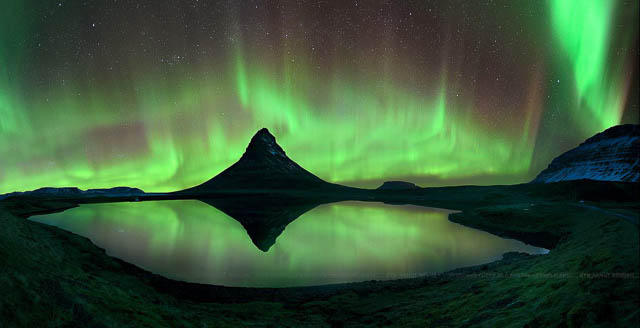 northen lights above kirkjufell mountain