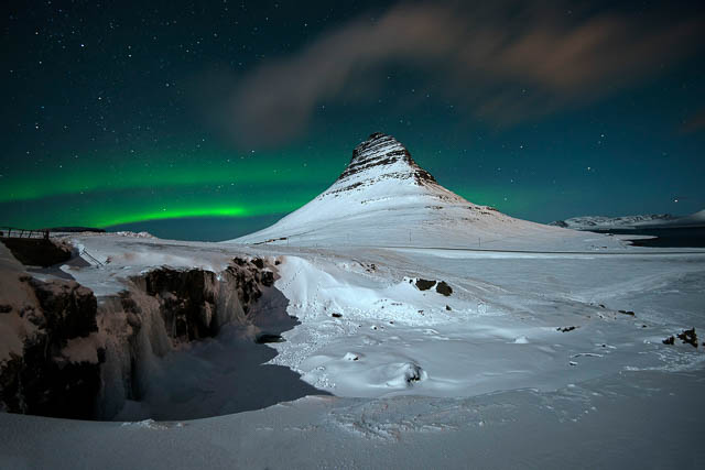 polar lights near snow covered kirkjufell mountain iceland