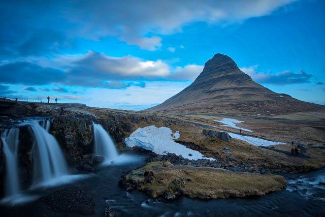 small water streams flowing at the foot of kirkjufell mountain