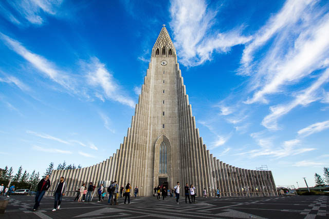 blue sky above Hallgrimskirkja church at reykjavik icland