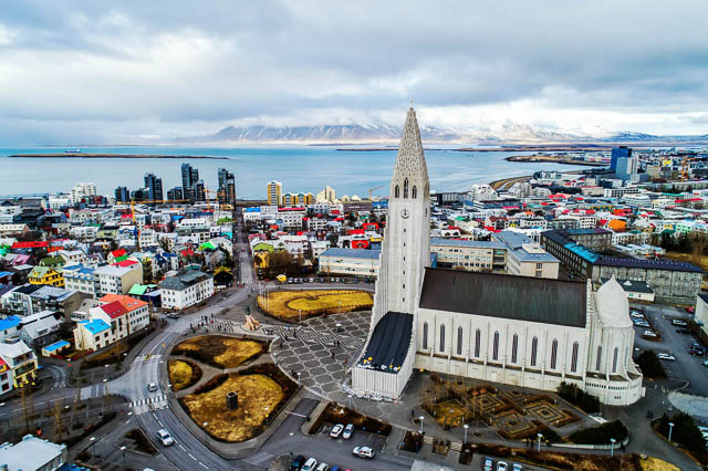 Hallgrimskirkja church and reykjavik city aerial view