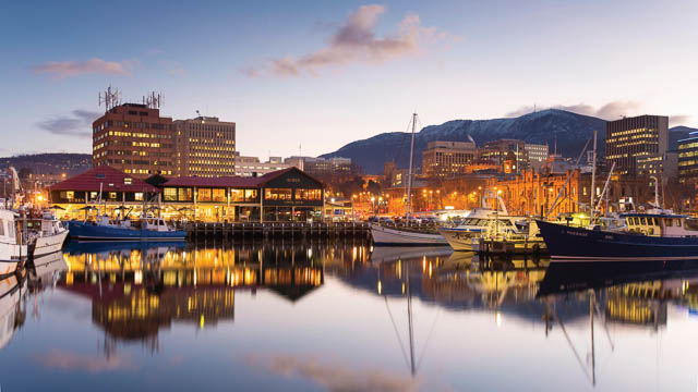 boats docked at waterfront in hobart