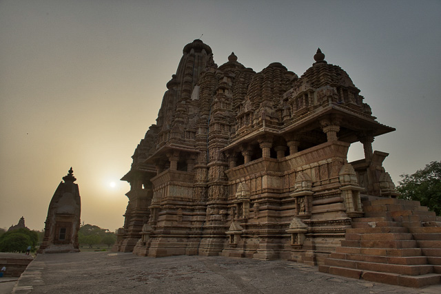 sunset view with temples at Khajuraho India