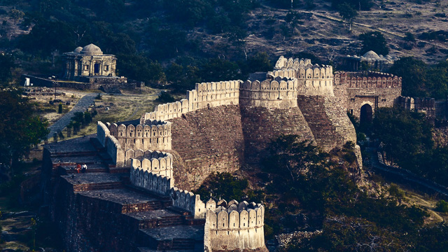 steps on the great wall of Kumbhalgarh fort in Rajasthan India