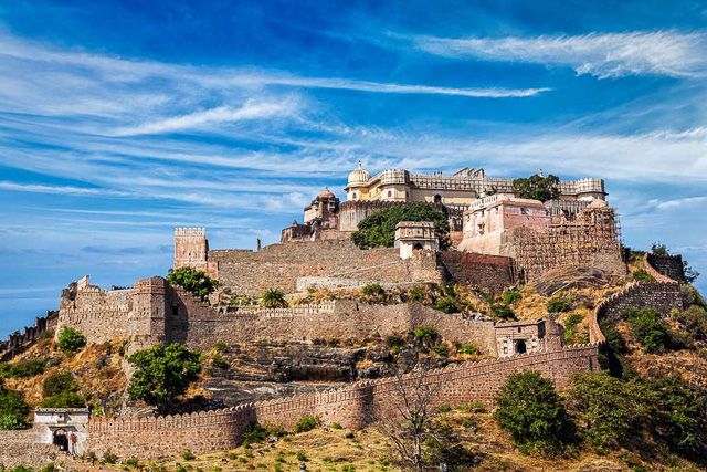 clear blue sky above Kumbhalgarh fort Rajasthan India