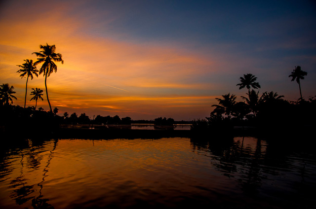 darkness creeping over backwaters in Alappuzha Kerala India