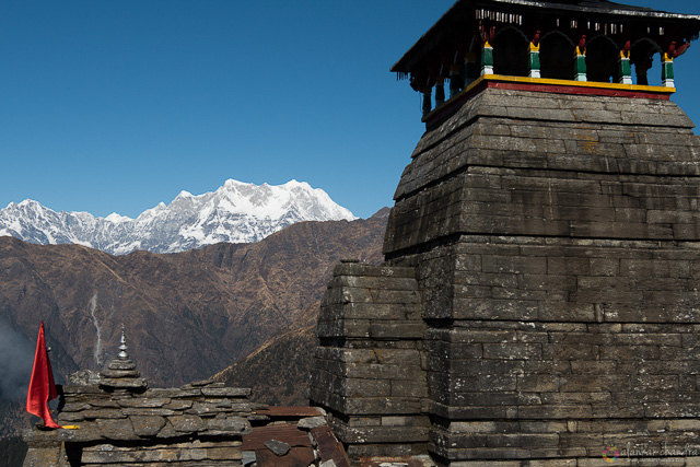 snow capped white himalayas visible from the highest shiva temple in chopta uttarakhand india