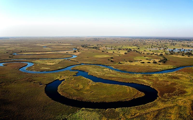 Okavango delta drone view