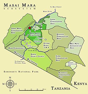 Masai Mara Luxury tour map